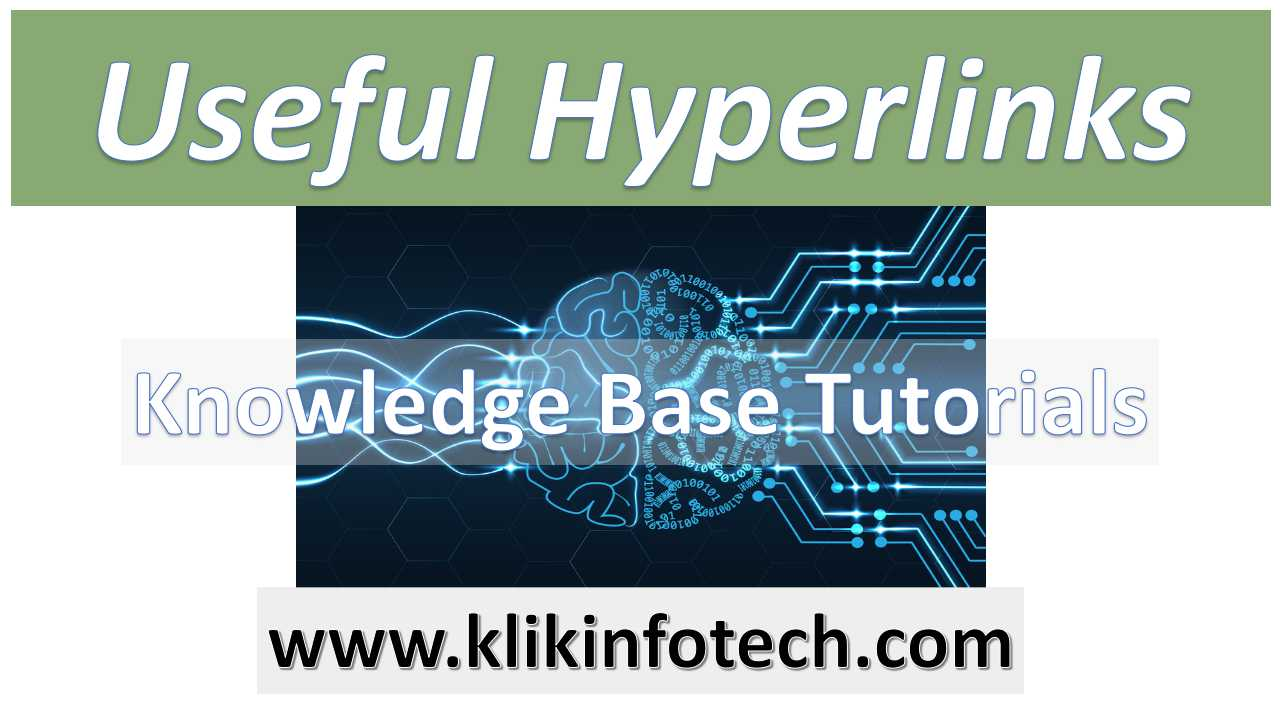 Useful Hyperlinks – Knowledge Base Tutorials