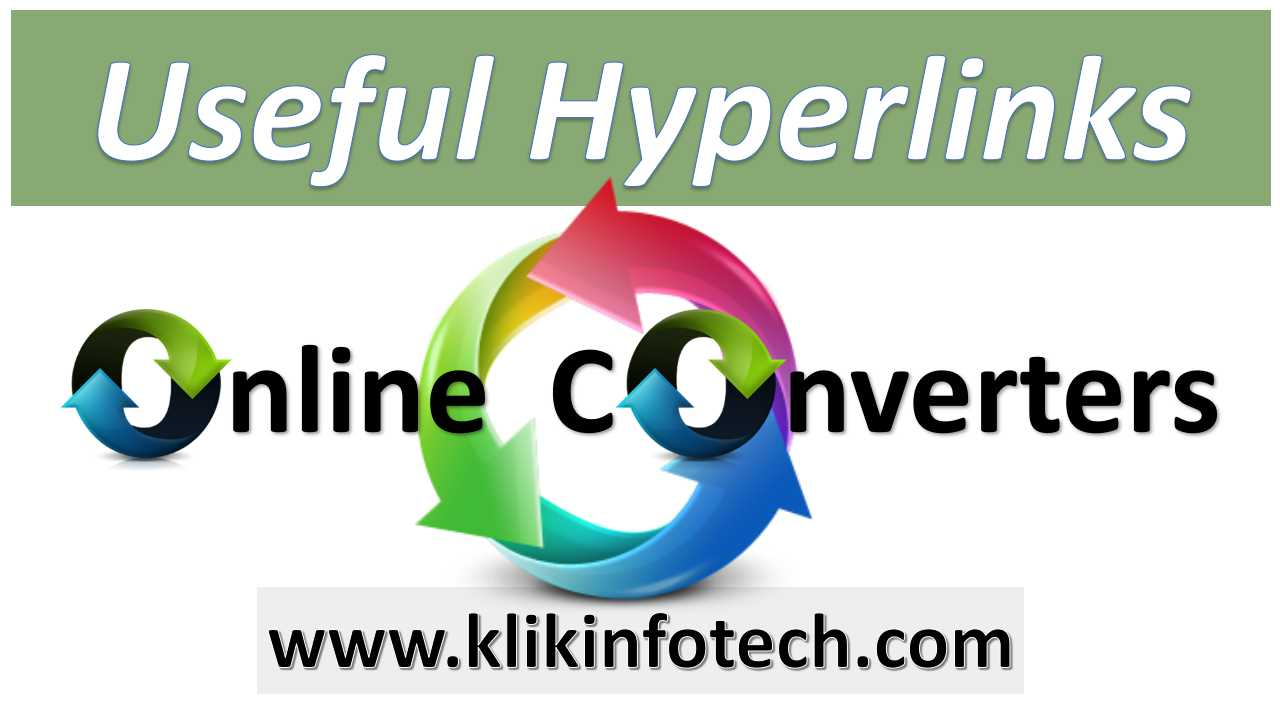Useful Hyperlinks – Online Converters